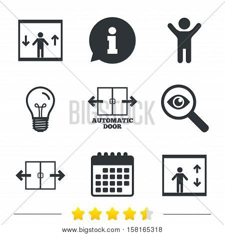 Automatic door icons. Elevator symbols. Auto open. Person symbol with up and down arrows. Information, light bulb and calendar icons. Investigate magnifier. Vector