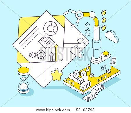 Vector Illustration Of Envelope, Hourglass And Three Dimensional Mechanism With Robotic Hand On Blue