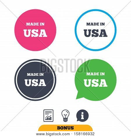 Made in the USA icon. Export production symbol. Product created in America sign. Report document, information sign and light bulb icons. Vector