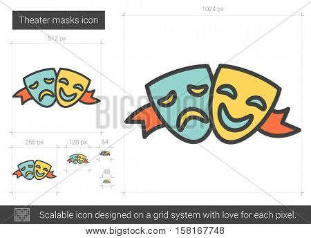 Theater masks vector line icon isolated on white background. Theater masks line icon for infographic, website or app. Scalable icon designed on a grid system.