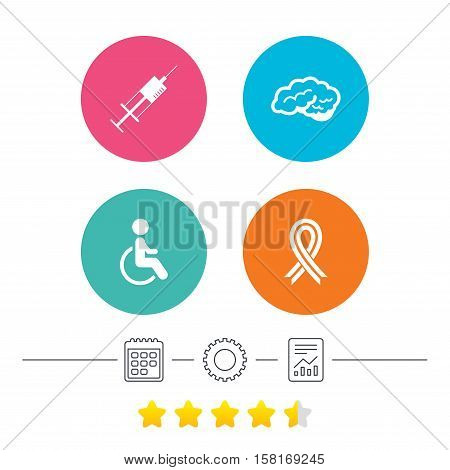 Medicine icons. Syringe, disabled, brain and ribbon signs. Breast cancer awareness symbol. Handicapped invalid. Calendar, cogwheel and report linear icons. Star vote ranking. Vector