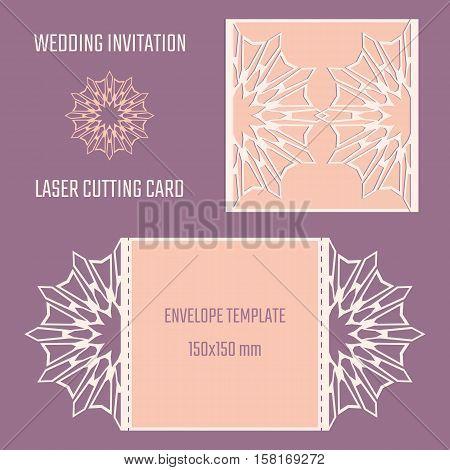 DIY laser cutting vector envelope. Wedding die cut invitation template. Cutout silhouette card. Fretwork envelope. Paper cutting. Scrapbook cutout template.