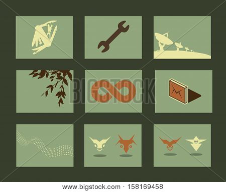 Vector Retro Minimal Illustrations Set: Objects and Natural Backgrounds