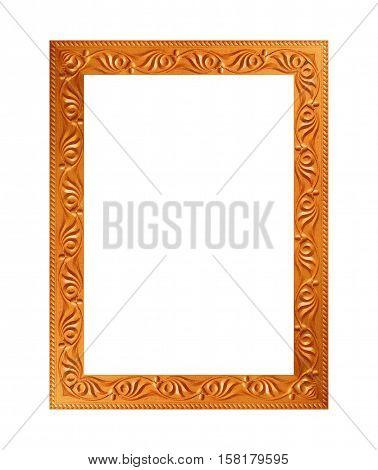 gilded wood frame isolated on white background.