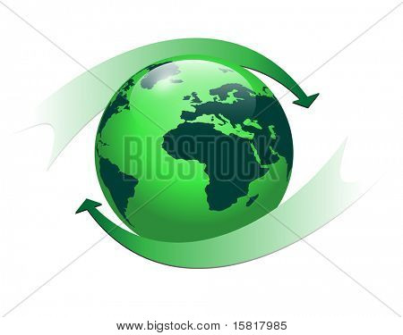 Earth globe with green color and two arrows, vector eps10