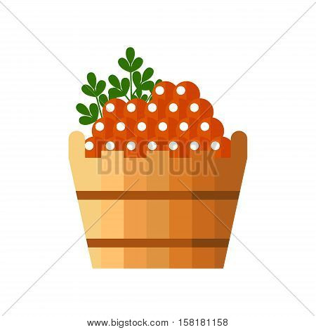 Red caviar in a wooden barrel. Roe icon vector illustration. Russian traditional snack. Caviare menu for restaurant