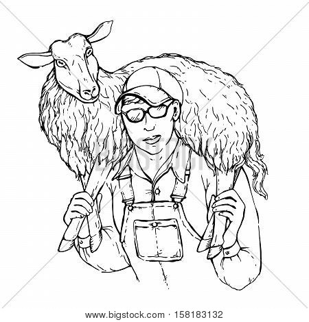 Illustration of a young strong farmer boy with a sheep on his shoulders. Sheepman carrying a lamb vector sketch isolated on white background.