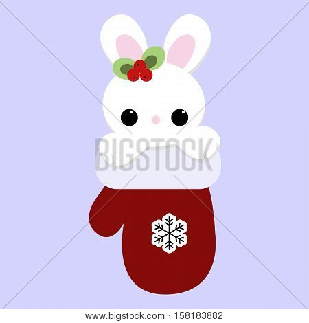 cute baby holiday Christmas small white rabbit inside the mitten. Template for greeting card or a poster. Christmas vector illustration. Baby shower