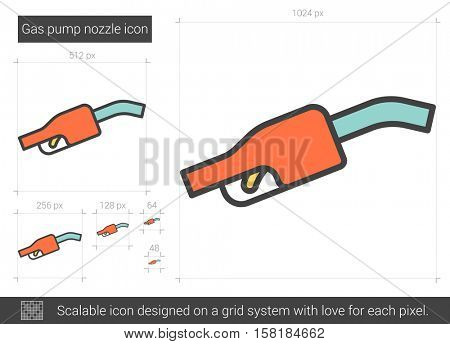 Gas pump nozzle vector line icon isolated on white background. Gas pump nozzle line icon for infographic, website or app. Scalable icon designed on a grid system.