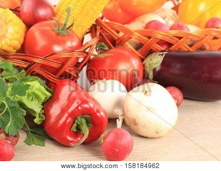 close-up :tomatoes,peppers,mushrooms and lettuce on a light background