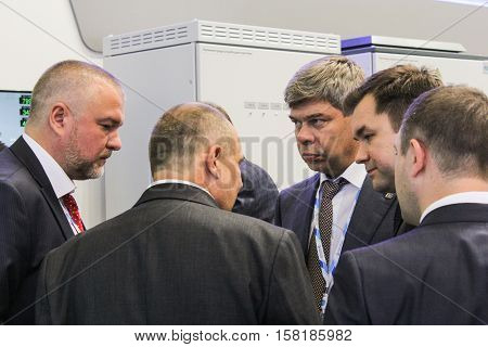 St. Petersburg, Russia - 5 October, Communication of business people at Gas Forum, 5 October, 2016. Petersburg Gas Forum which takes place in Expoforum.