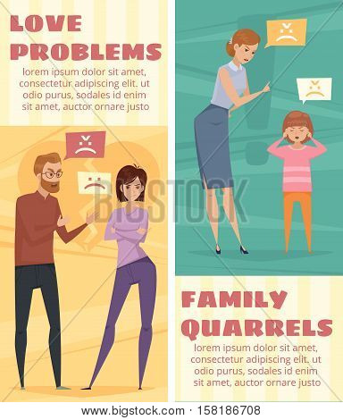Conflict vertical banners with arguing love couple and mother and child quarrel in flat style vector illustration