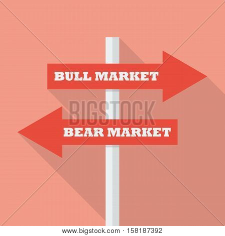 Bull and bear market street sign. vector illustration