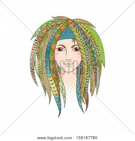 Colorful young girl with patterned zentangle dreadlocks. Ornate hairstyle. Vector illustration.