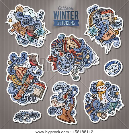 Set of Winter season cartoon stickers. Vector hand drawn objects and symbols collection. Label design elements. Happy holidays. Cute patches, pins, badges series. Comic style.