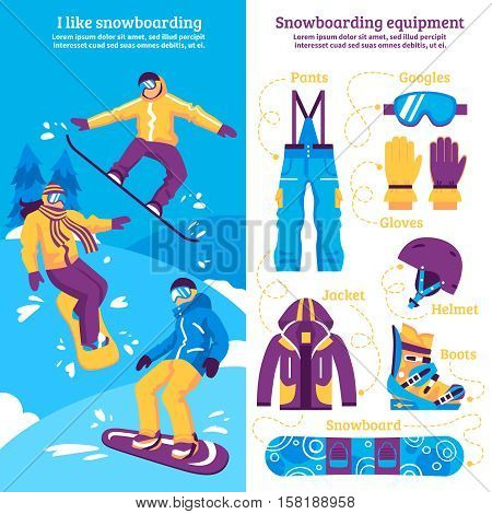 Snowboarding vertical banners with snowboarders sliding downhill and set of sporting equipment flat vector illustration