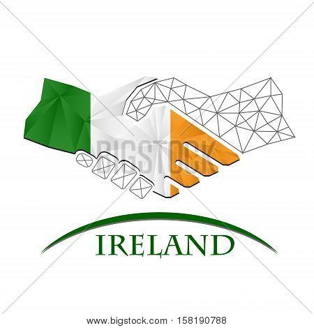 Handshake logo made from the flag of Ireland.