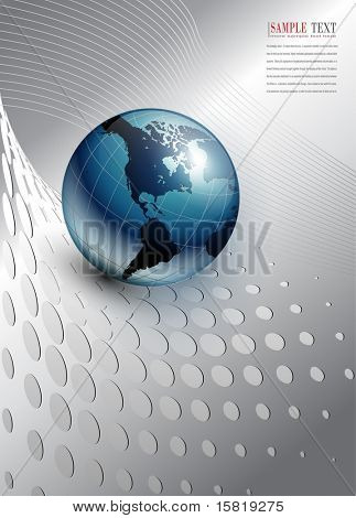 abstract business background, silver with world globe, vector.