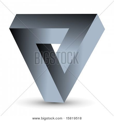 Abstract symbol, impossible object, triangle, vector.