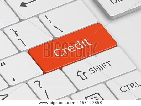 The word Credit written on a red key from the keyboard