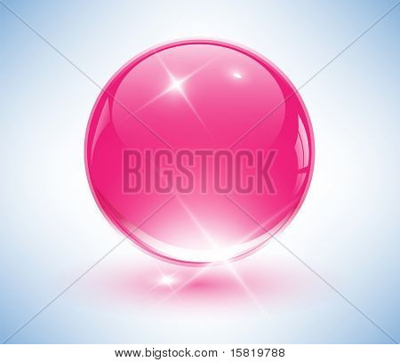 3D crystal sphere, pink ball. Vector illustration.