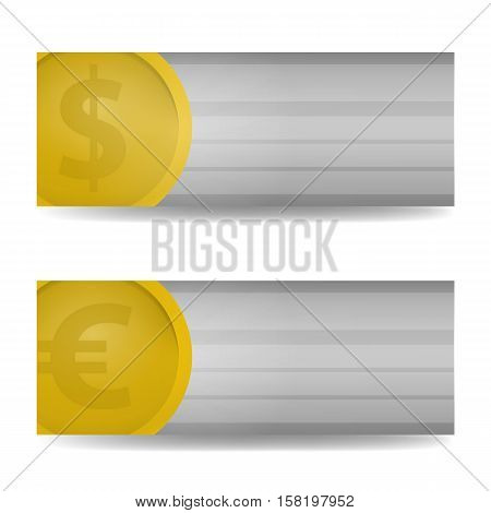 Vector realistic horizontal banners of dollar and euro. Business mock up identity template. Concept of banking, finance, currency and marketing.