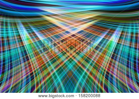 A colourful blue and green crossing light trails background