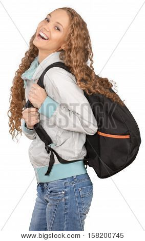 Friendly Young Girl with Rucksack Laughing - Isolated