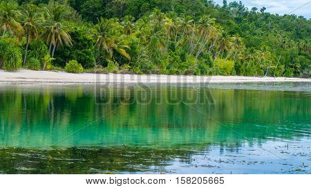 Water Hut of an Homestay on Monsuar Island. Low Tide. Raja Ampat, Indonesia, West Papua.