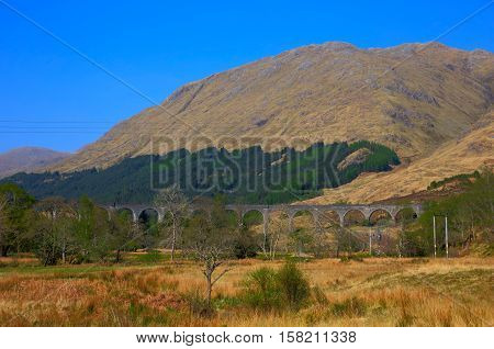 Glenfinnan Viaduct West Highland Line Glenfinnan Scotland uk overlooks Loch Shiel and located just off A830 west of Fort William
