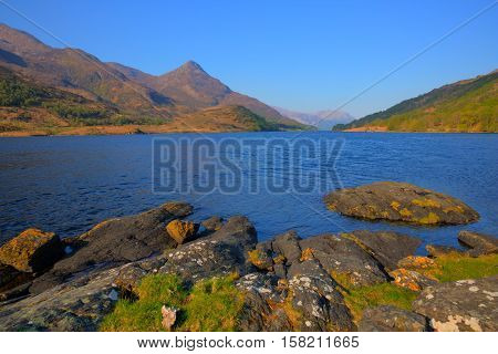Loch Leven Scottish lake west coast of Scotland in Scottish Highlands west of Kinlochleven and just off B863 south of Ben Nevis