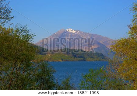 Loch Leven Lochaber Scotland uk view to Glen coe with snow topped mountains