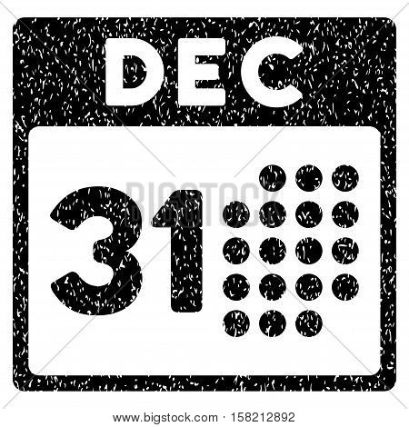 Last Year Day grainy textured icon for overlay watermark stamps. Flat symbol with scratched texture. Dotted vector black ink rubber seal stamp with grunge design on a white background.