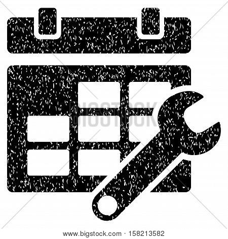 Timetable Options grainy textured icon for overlay watermark stamps. Flat symbol with dust texture. Dotted vector black ink rubber seal stamp with grunge design on a white background.