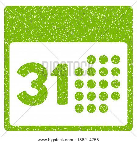 Last Month Day grainy textured icon for overlay watermark stamps. Flat symbol with dirty texture. Dotted vector eco green ink rubber seal stamp with grunge design on a white background.