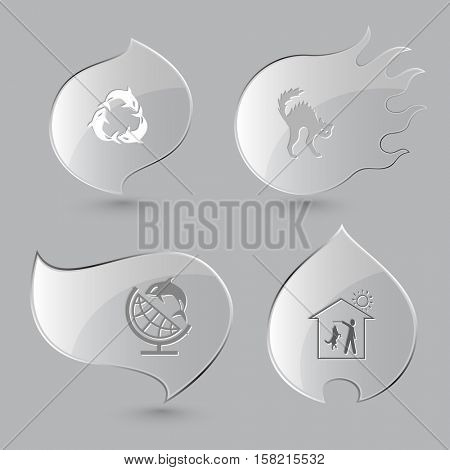 4 images: killer whale as recycling symbol, cat, globe and shamoo, home dog. Animal set. Glass buttons on gray background. Fire theme. Vector icons.