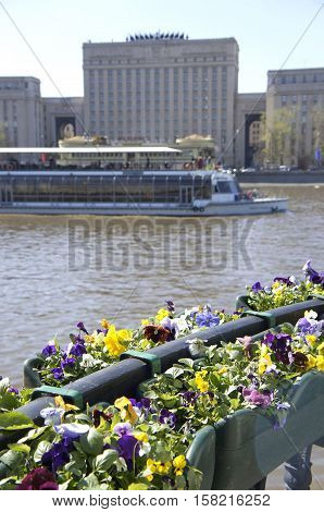 View of the river and the floating steamship in Moscow