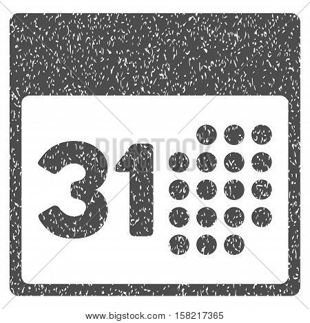 Last Month Day grainy textured icon for overlay watermark stamps. Flat symbol with scratched texture. Dotted vector gray ink rubber seal stamp with grunge design on a white background.