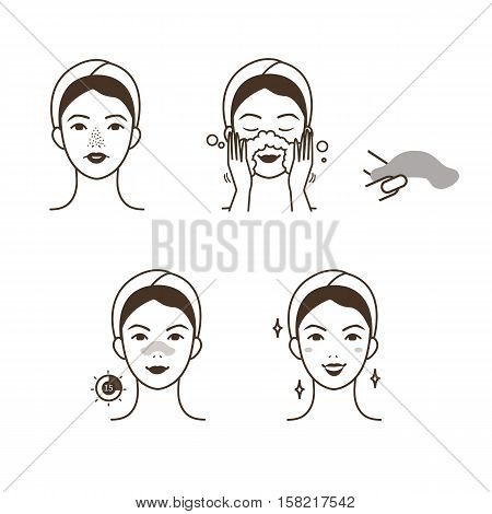 Girl take care of her face. Blackheads treatment procedure with blackhead patch. Vector illustration.