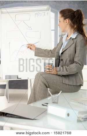 Young attractive businesswoman presenting in office, drawing diagram on whiteboard, sitting on desk.