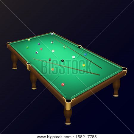 Billiard game balls position on a realistic pool table with cues. Vector illustration of a realistic billiard table with a balls