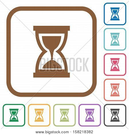 Hourglass simple icons in color rounded square frames on white background