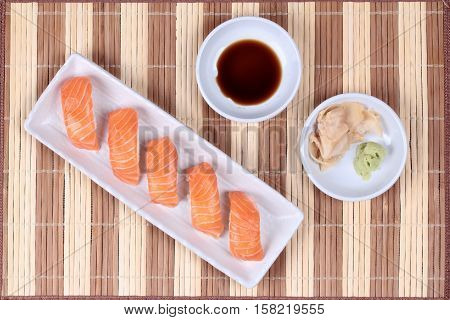 Japanese Food - Salmon Sushi Served With Side Dish.