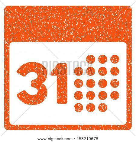Last Month Day grainy textured icon for overlay watermark stamps. Flat symbol with scratched texture. Dotted vector orange ink rubber seal stamp with grunge design on a white background.