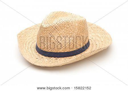 A straw hat with blue strap isolated on white background