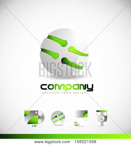 Technology media green sphere 3d vector logo icon sign design template corporate identity