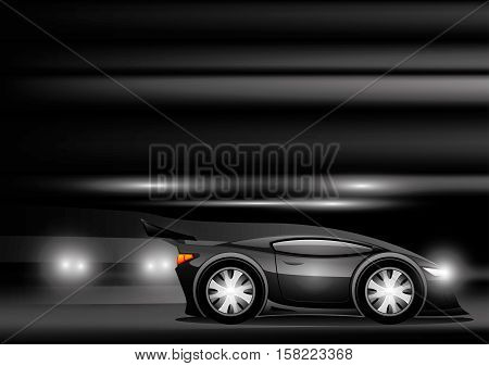 Black sports car on a black background.