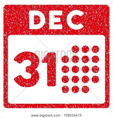 Last Year Day grainy textured icon for overlay watermark stamps. Flat symbol with unclean texture. Dotted vector red ink rubber seal stamp with grunge design on a white background.