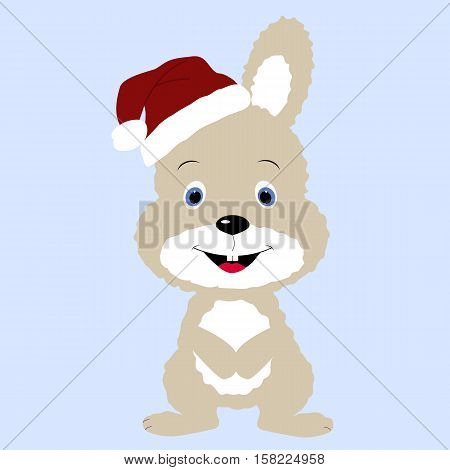 icon cute baby Christmas Bunny rabbit in Santa hat on a blue background. Vector illustration