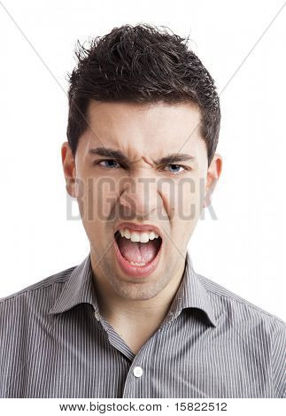 Portrait of a angry young man yelling, isolated on white background